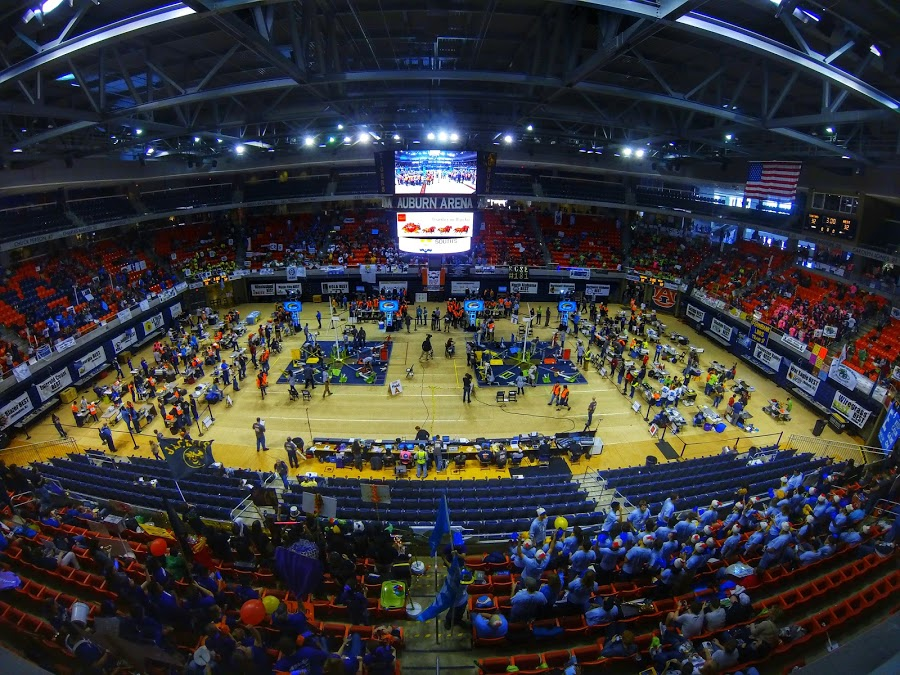 Aerial view of South's BEST Robotics Championships at Auburn Arena.